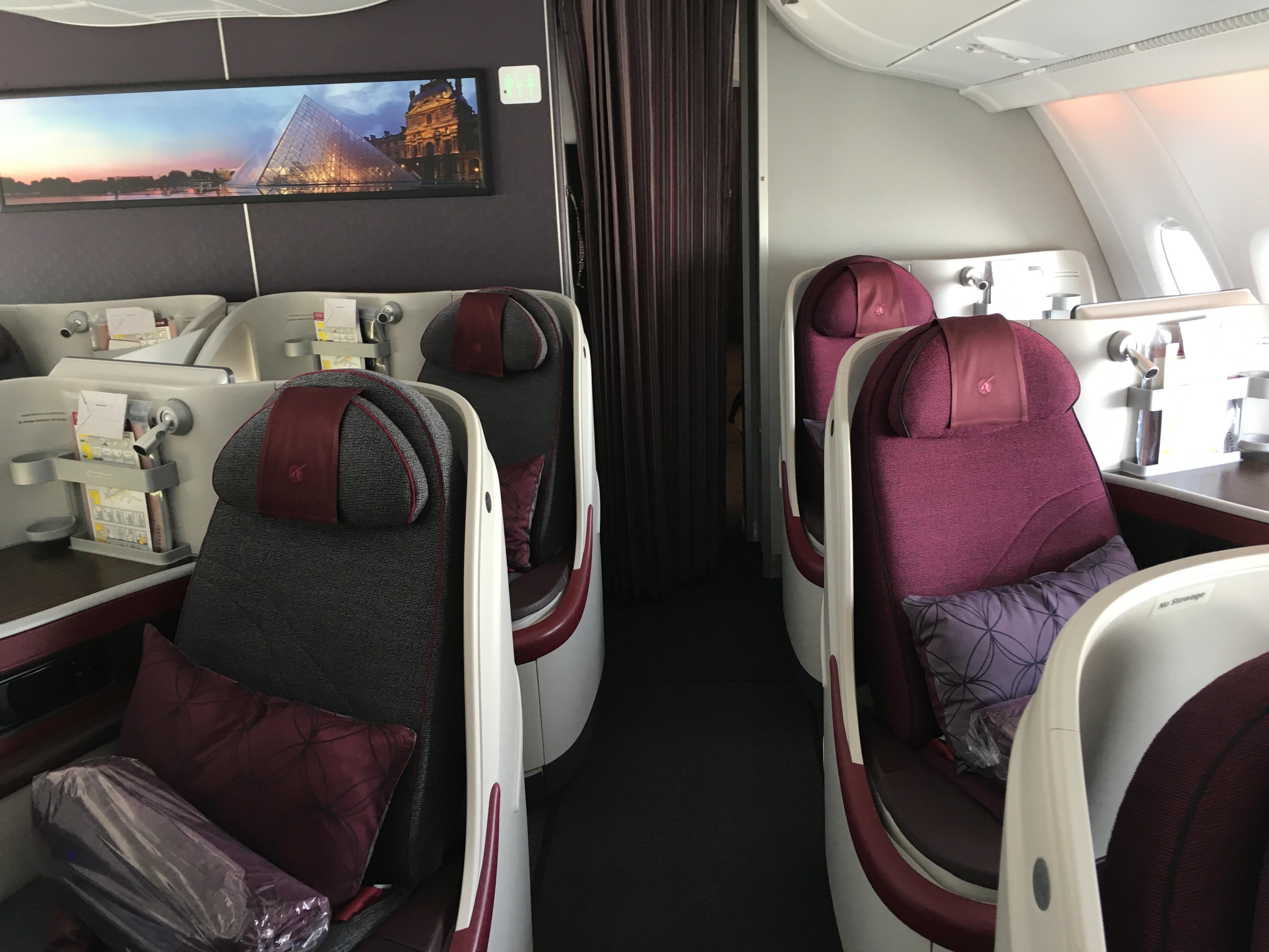 Business Class Review : カタール航空(QR) QR40 パリ・シャルルドゴール(CDG) – ドーハ(DOH) Airbus A380-800