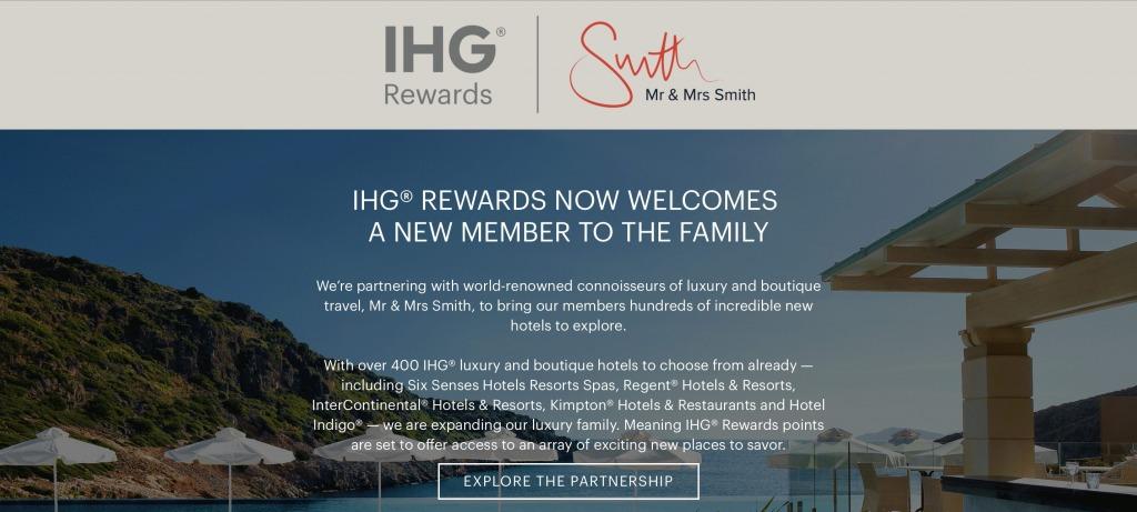 Mr & Mrs Smithのホテルがインターコンチネンタルホテルズ(IHG)のポイントで予約可能に